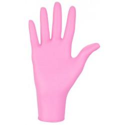 Bezpudrowe diagnostyczne rękawice nitrylowe w kolorze różowym