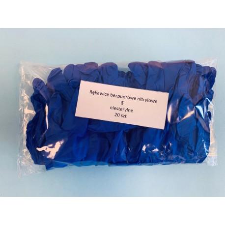 Bezpudrowe diagnostyczne rękawice nitrylowe w kolorze niebieskim